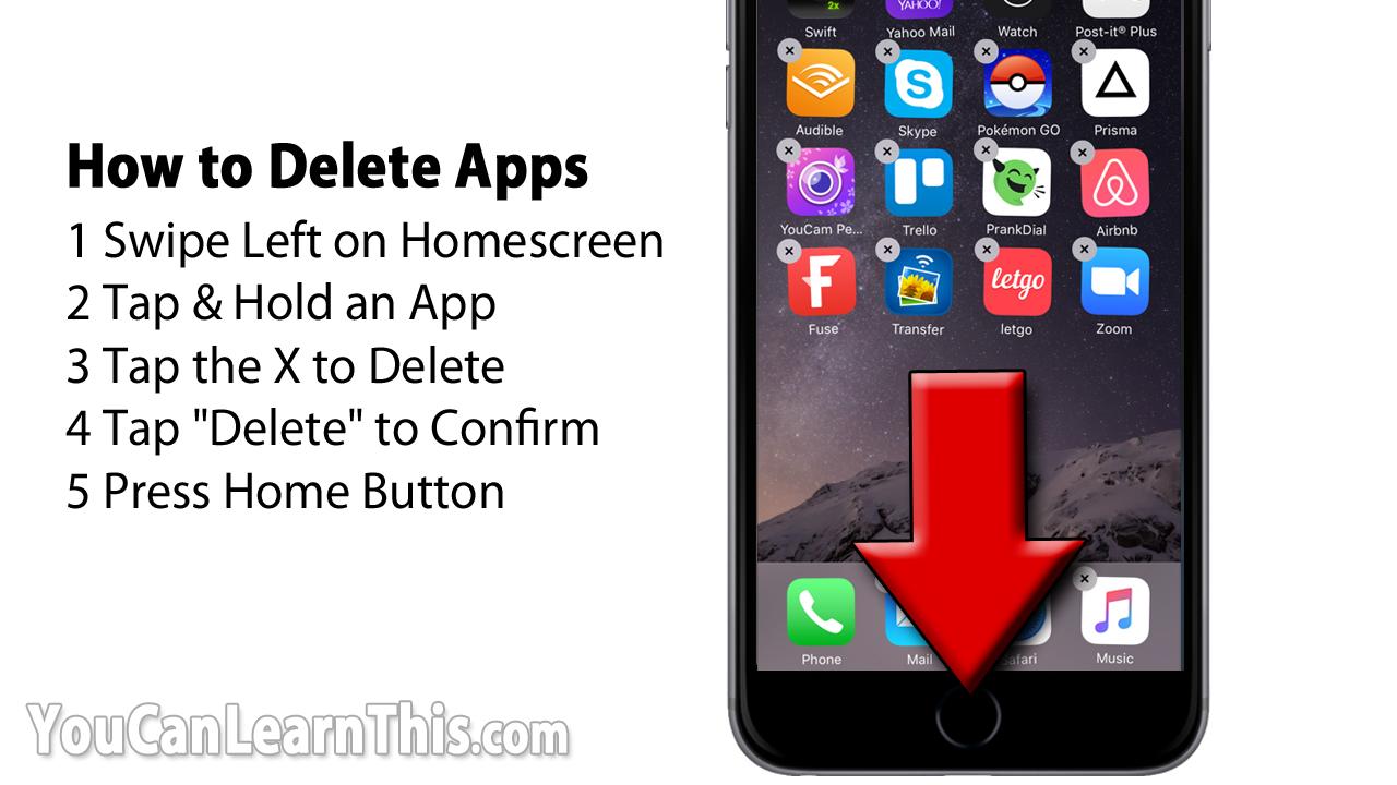 delete apps iphone x